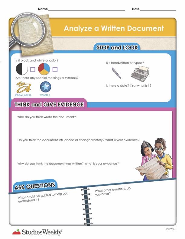 Analyze a Written Document Graphic Organizer