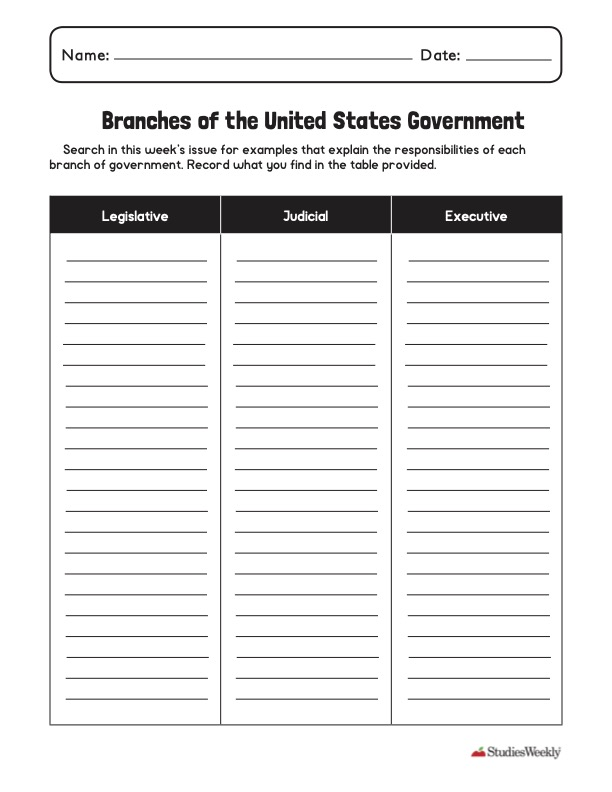 3 branches of government graphic organizer Studies Weekly