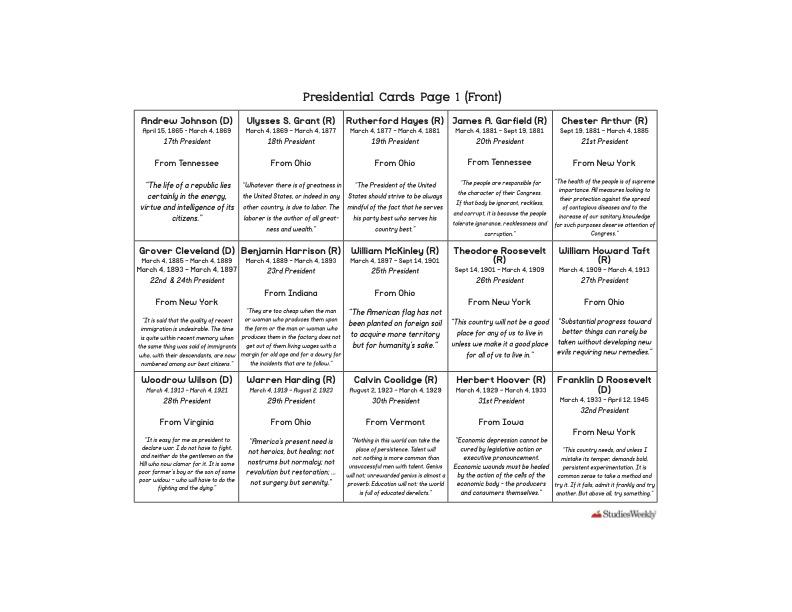 Studies Weekly Presidential Cards