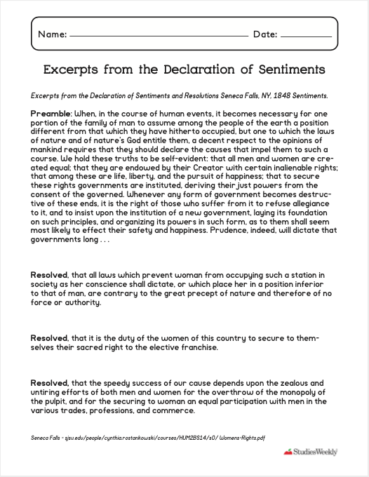 Studies Weekly lesson, Excerpts from the Declaration of Sentiments