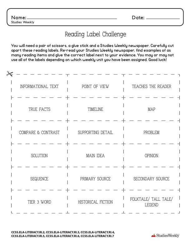 Studies Weekly Reading Label Challenge