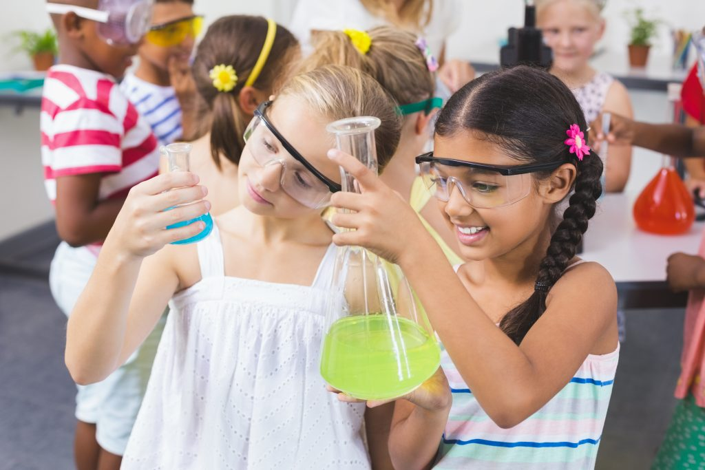 Girls doing science