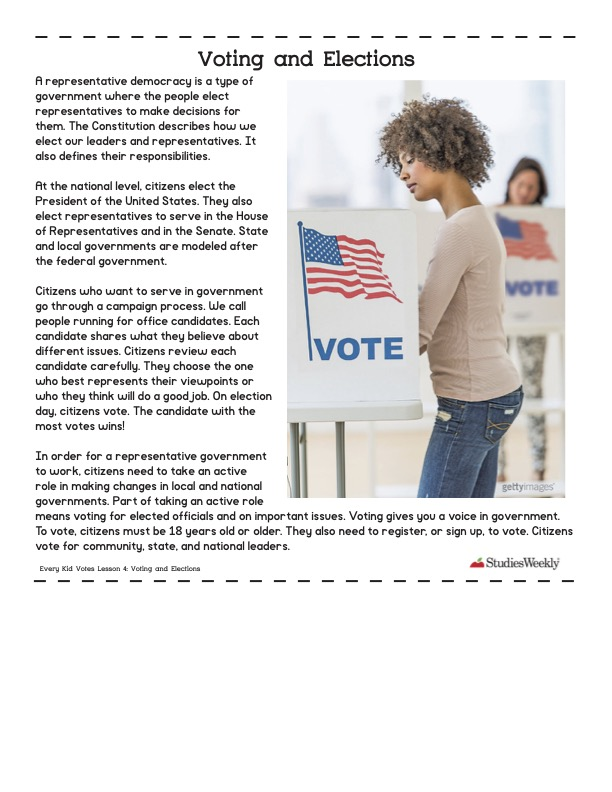 Studies Weekly article Voting and Elections