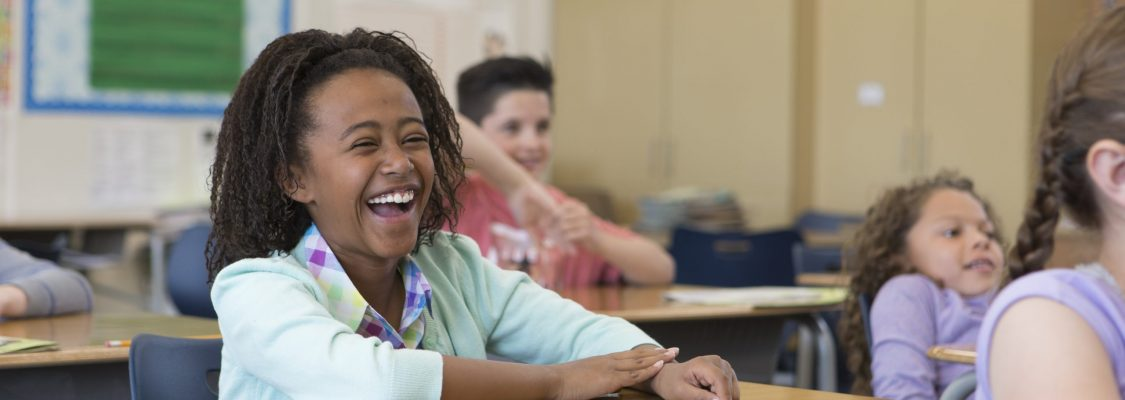 Student laughs during fun end of school year activity