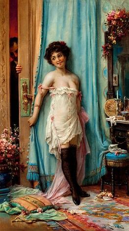 Date (Rendez-vous) ou Anticipation Oil on canvas - Huile sur toile 70 x 40 cm  (27.6 x 15.7 in.)