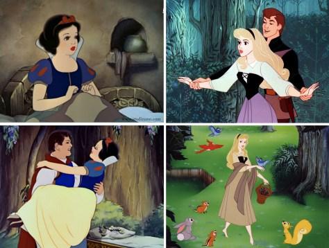 Comparaison entre la silhouette de Blanche Neige (1937) et celle de La Belle au Bois Dormant (1959) par les studios Disney.