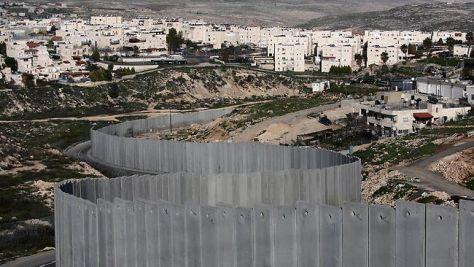 Vue du mur situé à la frontière israélo-palestinienne.
