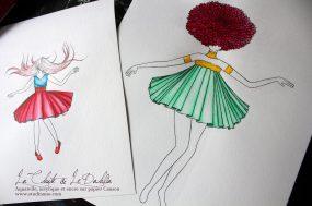 Flower Girl : Dahlia et La Chute Aquarelle et encre sur papier Canson, 2015