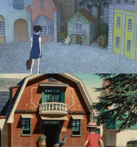 En haut : devanture de la maison du Baron. (Le Royaume des chats, 2002) En bas : devanture de la maison du grand-père. (Si tu tends l'oreille, 1990)