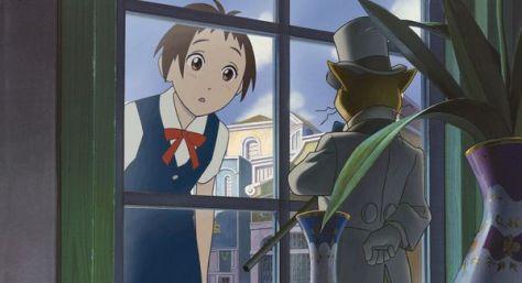 Il fait encore jour quand Haru arrive devant la maison du Baron : il n'est donc encore qu'une statuette.