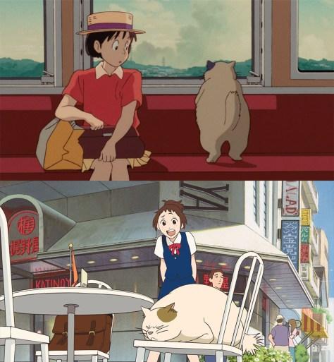 En haut : Muta aux côtés de Shizuku dans Si tu tends l'oreille (1990) En bas : Muta tournant le dos à Haru dans Le Royaume des chats (2002)