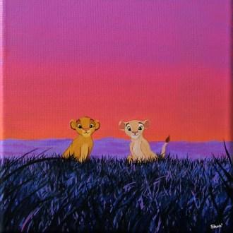Simba et Nala dans la savane Peinture acrylique sur toile, 2015