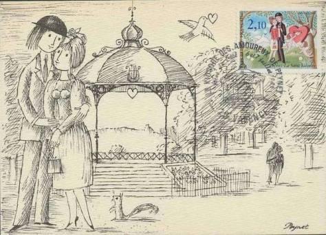 kiosque-de-peynet-valence-dessin-carte-postale-timbre