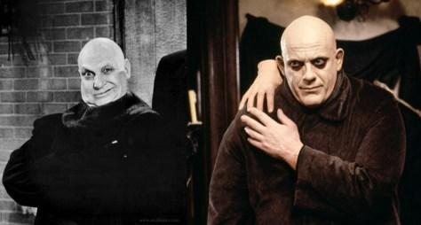 A gauche : Jackie Coogan sous le maquillage de l'Oncle Fétide dans la Famille Addams (série de 1963). A droite : Christopher Lloyd, qui reprit le rôle en 1991.