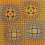 Victor Vasarely, Quadrature, Estampe originale, 78x78 cm
