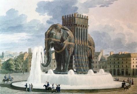 Aquarelle de Jean-Antoine Alavoine (1776-1834) Dernier projet pour la fontaine de l'Éléphant de la Bastille (1809-1810) H : 41 cm, L : 51,8 cm L'aquarelle est contresignée par Vivant Denon et Alavoine (architecte du projet) Musée du Louvre, Paris