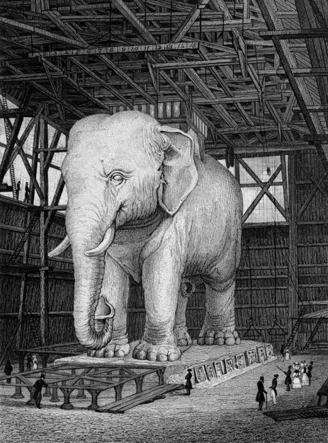 La maquette en plâtre dans son hangar en 1830-31 (gravure d'après un dessin de Pugin père).