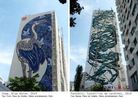 Stew, Héron Bleu / Pantónio, Tourbillon de sardines Fresque murale, Street art, 2014 Photo de Alain Delavie Tour Tivoli et Tour Sienne, Place Vénétie, Paris 13e (75)