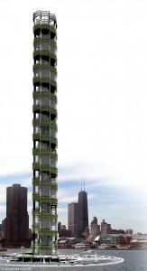 Ferme verticale imaginée par l'architecte Blake Kurasek, 2008.