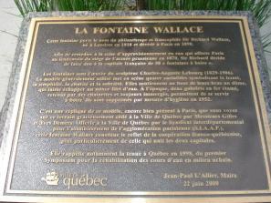 Plaque accompagnant la Fontaine Wallace de Québec, Canada.