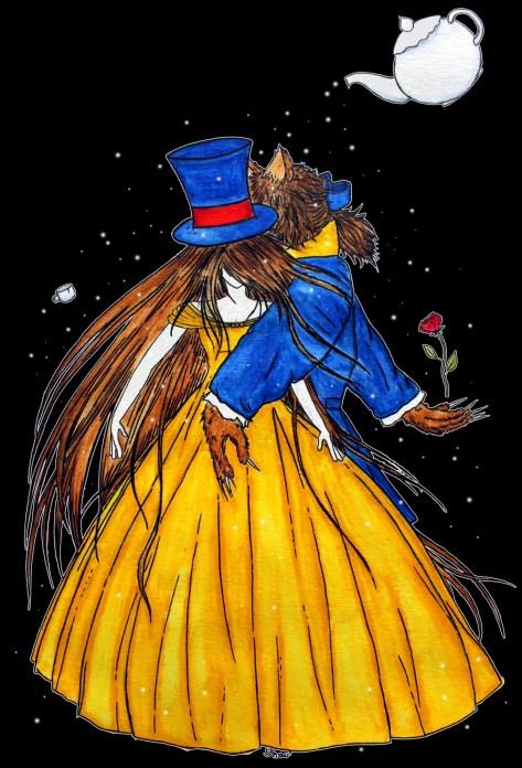 La Belle et la Bête (Fanart de La Belle et la Bête version Disney) Acrylique sur papier Canson, 2013