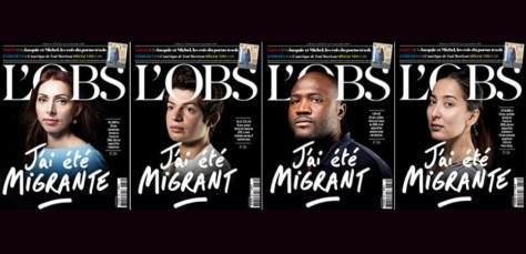 """Couvertures de L'Obs intitulées """"J'ai été migrant(e)""""."""