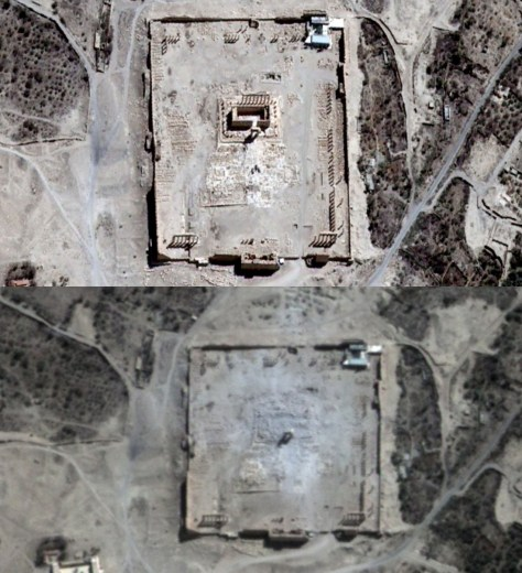 Vue satellite du Temple de Bel avant et après sa destruction.
