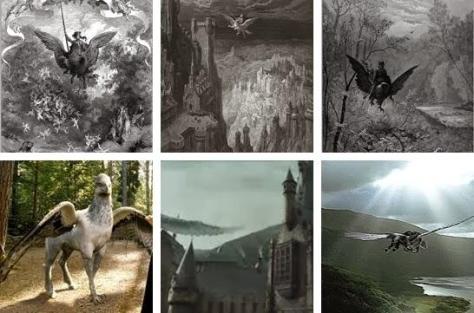 Ligne du dessus : gravures de Gustave Doré – ligne du dessous : scène du film Harry Potter
