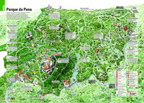 Carte du Palais de Pena et du parc du même nom.