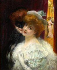 Albert Lynch, Le Bal Masqué, Peinture à l'huile sur bois, 61 x 49,5 cm, 1851-1912