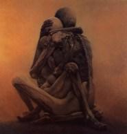 Zdzisław Beksiński: Sans titre. 1984. Acrylique sur panneau. 98.5 x 101 cm. Collection privée (Wikimedia Commons).