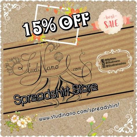 Pour fêter la réouverture de la boutique Spreadshirt de Studinano, nous vous offrons 15% de réduction sur toute la boutique ! 🎁 C'est l'occasion idéale pour commencer vos achats de Noël ou pour vous faire plaisir ! 🎅♥️ C'est par ici : www.studinano.com/spreadshirt/