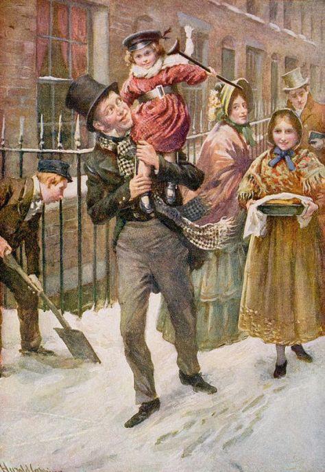 Illustration de Harold Copping pour A Christmas Carol (Un Chant de Noël) de Charles Dickens.