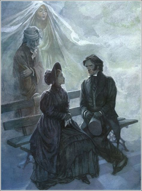 Illustration de P.J. Lynch pour A Christmas Carol (Un Chant de Noël) de Charles Dickens.