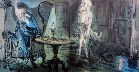 Illustration de Ronald Searle pour A Christmas Carol (Un Chant de Noël) de Charles Dickens.