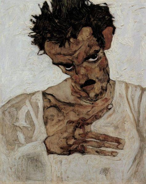 Egon Schiele, Autoportrait, huile sur panneau de bois, 42,2 × 33,7 cm, 1910, Leopold Museum, Vienne.