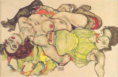 Egon Schiele, Couple de femmes amoureuses, crayon et aquarelle, 32,5 × 49,5 cm, 1912, Palais Albertina, Vienne.