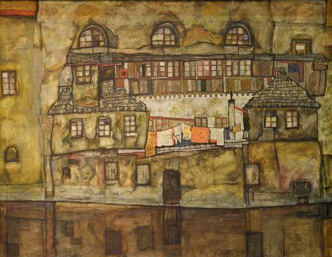 Egon Schiele, Façade sur la rivière, huile sur toile, 1915, Leopold Museum, Vienne.
