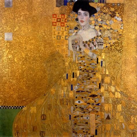 Gustav Klimt, Adèle Bloch-Bauer I, Huile et feuille d'or sur toile, 138 x 138 cm, 1907, Neue Galerie, New York.