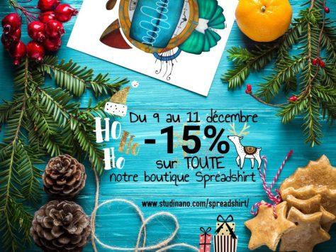 🎄🎉 Du 9 au 11 décembre, -15% dans toute ma boutique Spreadshirt ! Idéal pour préparer Noël ! 🎄🎁🎅 C'est par ici : www.studinano.com/spreadshirt/
