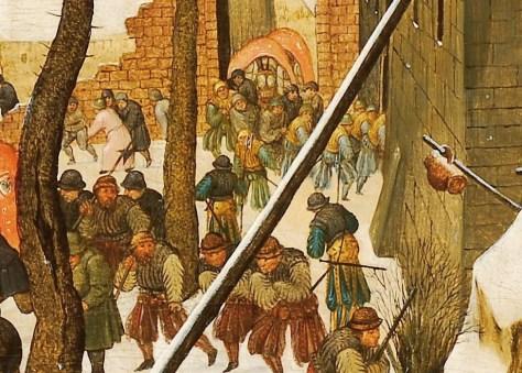 Détail : Des soldats en bleu et or. Pieter Bruegel le Jeune, L'Adoration des Mages dans un paysage de neige (ou dans un paysage d'hiver), Huile sur bois, 36 x 57 cm, n.d., Collection particulière, France.
