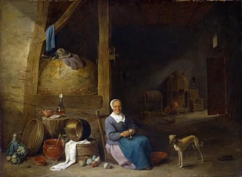 D'après David Teniers le Jeune, Vieille femme pelant des poires, National Gallery, Londres.