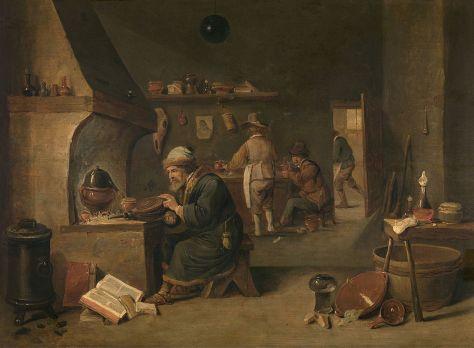 David Teniers le Jeune, Alchimiste, Huile sur bois, 45,3 x 62,3 cm, Musée royal des Beaux-Arts d'Anvers, Belgique.