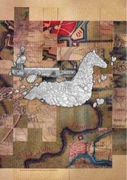 """Visuel pour la journée d'étude sur la Vallée de l'Escaut organisé à l'UPHF en 2019. Péniche Steampunk volante surnommée """"Scaldis"""" (nom latin du fleuve Escaut). Elle est tirée dans les cieux par un cheval de halage formé de nuages."""