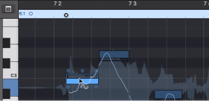 view of the Vibrato tool surrounding some audio