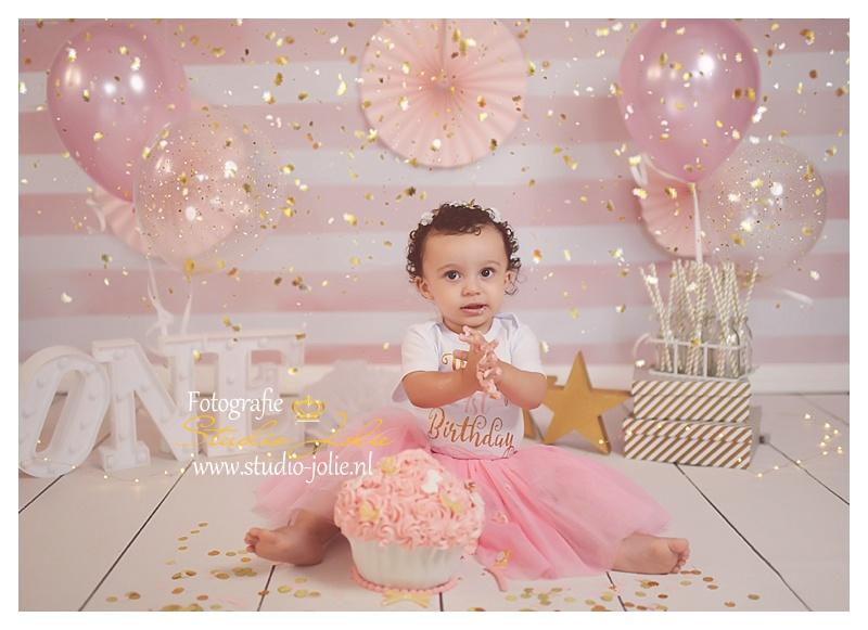 cakesmash meisje roze en goud