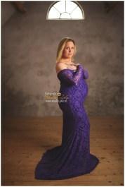 Paarse kanten jurk