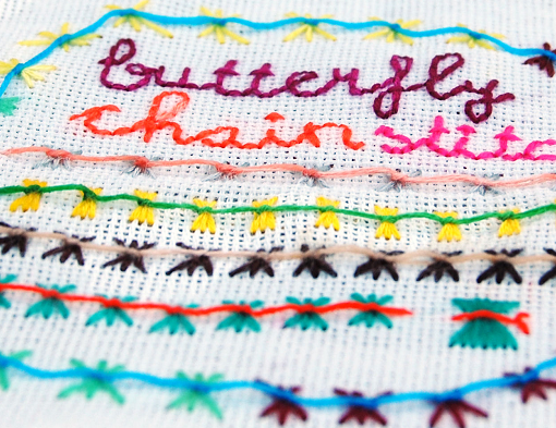 embroidery butterfly chain stitch borduren