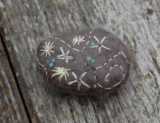 embroidered felt stones