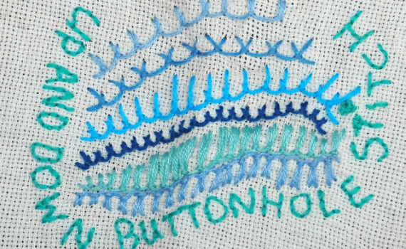 embroidery up and down buttonhole stitch borduren